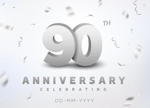 Jubiläumsfeier zum 90-jährigen jubiläum der silbernen zahl. jubiläumsbanner-zeremonie-design für das alter von 90 jahren.