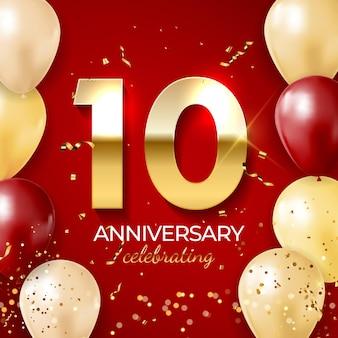 Jubiläumsfeierdekoration, goldene nummer 10 mit konfetti, luftballons, glitzern und streamerbändern auf rotem hintergrund