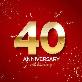 Jubiläumsfeierdekoration, goldene nummer 40 mit konfetti, glitzern und streamerbändern auf rotem hintergrund.
