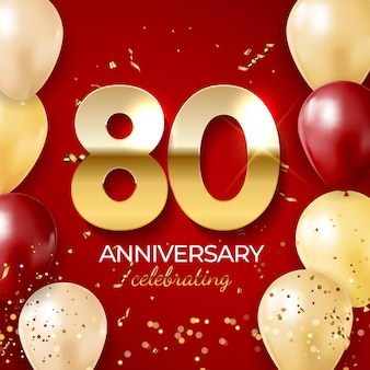 Jubiläumsfeierdekoration goldene nummer 80 mit konfetti-luftballons glitzert und streamer-bändern auf rotem hintergrund