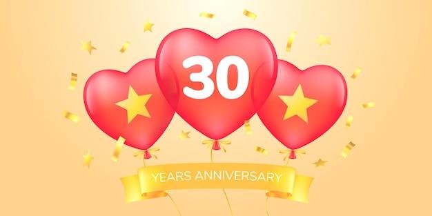 Jubiläumslogo, ikone. schablonenfahne mit heißluftballons für jubiläumsgrußkarte