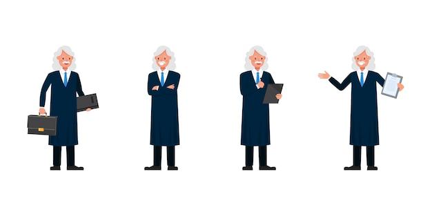 Judge man charakter. präsentation in verschiedenen aktionen.