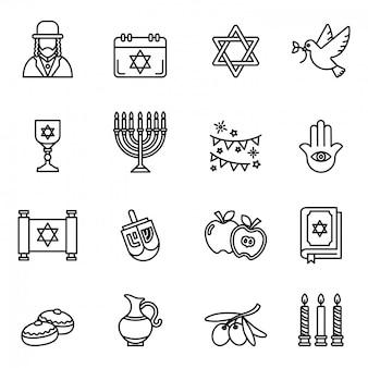 Jüdische feiertags-chanukka-ikonen eingestellt. dünne strichstärke.