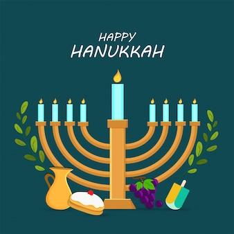 Jüdischer feiertag chanukka mit menora (traditioneller kandelaber), krapfen und holzdreidel (kreisel), trauben.