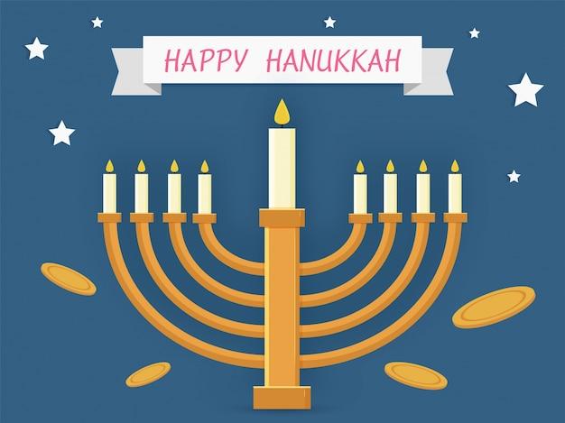 Jüdischer feiertag chanukka mit menorah (traditioneller kandelaber) feierkonzept.
