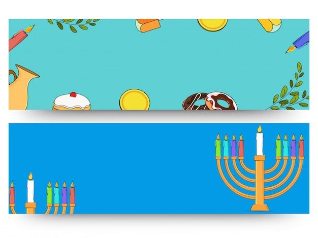 Jüdischer feiertag chanukka mit menorah (traditioneller kandelaber), krapfen und holzdreidel (kreisel). web-header oder banner.