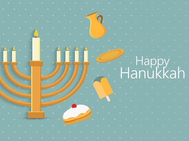 Jüdischer feiertag chanukka mit menorah (traditioneller kandelaber), krapfen und holzdreidel (kreisel).