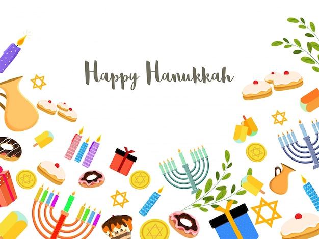 Jüdischer feiertag hanukkah mit menorah (traditioneller kandelaber), krapfen und hölzerner dreidel (kreisel) und andere elemente.