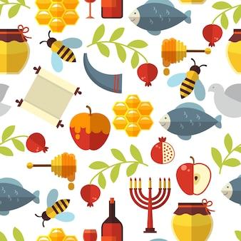 Jüdisches neujahr rosh hashanah nahtloses muster mit honig, fisch und wein