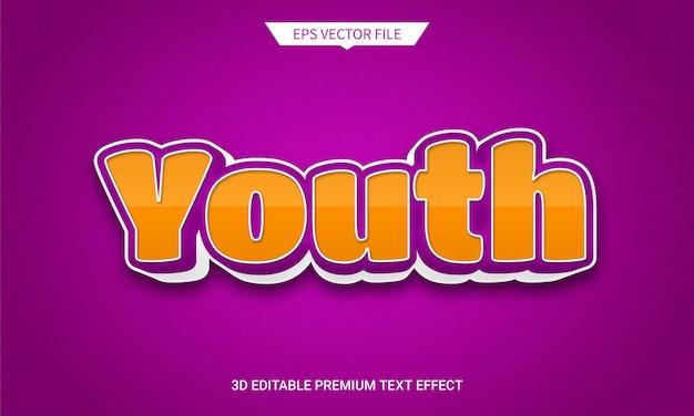 Jugend 3d bearbeitbarer textstileffekt