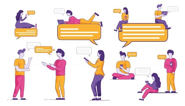 Jugend publikum kommuniziert aktiv im messenger.
