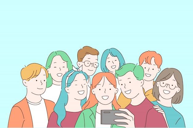 Jugendgemeinschaft, jugendfreundschaft, zeit zusammen verbringen und konzept mitteilen