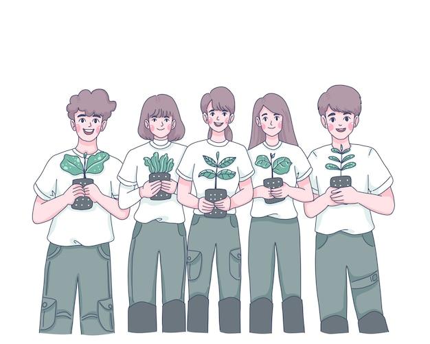 Jugendgruppe, die baumkarikaturcharakterillustration pflanzt