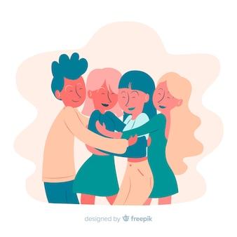 Jugendleute, die zusammen hintergrund umarmen