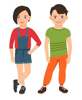 Jugendlich jungen- und mädchencharaktere der mode lokalisiert. lächelnde kindervektorillustration der jugendhigh school