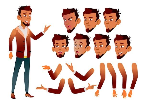 Jugendlich jungencharakter. araber. erstellungskonstruktor für animation. gesichtsemotionen, hände.