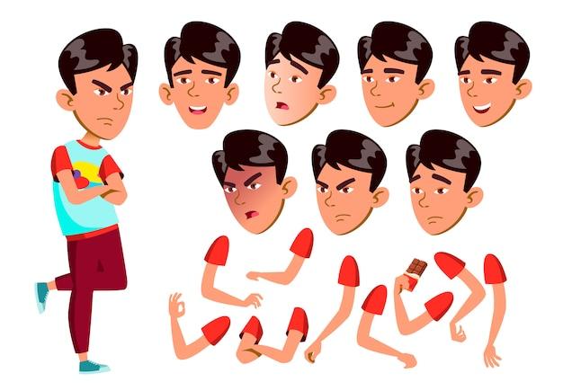 Jugendlich jungencharakter. asiatisch. erstellungskonstruktor für animation. gesichtsemotionen, hände.
