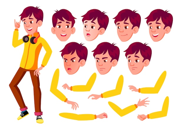 Jugendlich jungencharakter. europäisch. erstellungskonstruktor für animation. gesichtsemotionen, hände.