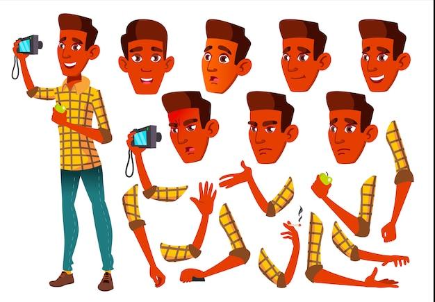 Jugendlich jungencharakter. indisch. erstellungskonstruktor für animation. gesichtsemotionen, hände.