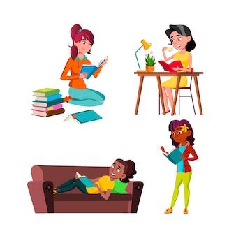 Jugendlich mädchen, die pädagogisches buch-satz-vektor lesen