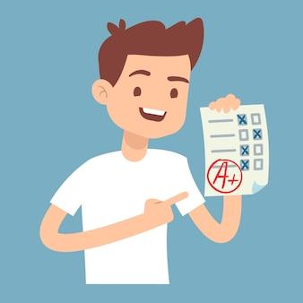 Jugendlich student, der papier mit perfektem schulprüfungstest hält