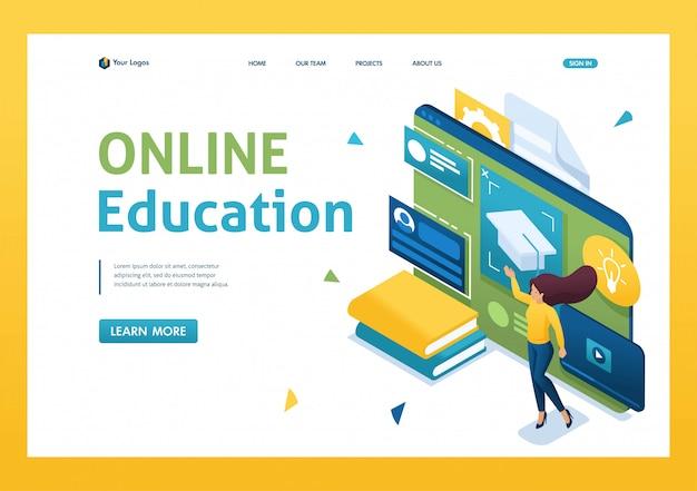 Jugendliche absolvieren ein online-training mit einem tablet. 3d isometrisch.