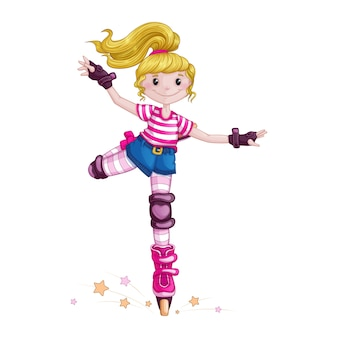 Jugendliche, die rollschuhlaufen und sporttricks tut. kinder im sport. skate auf rollschuhen. zeichentrickfigur vektor.
