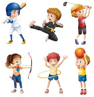 Jugendliche, die verschiedene aktivitäten ausüben