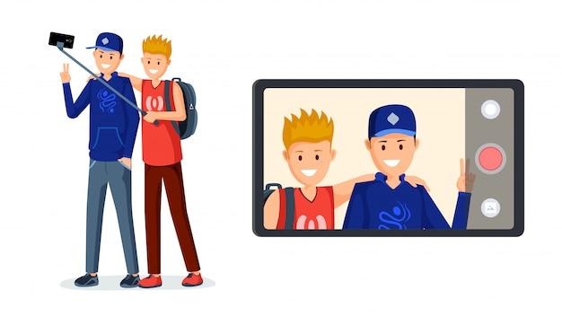 Jugendliche, die videonachrichten aufnehmen