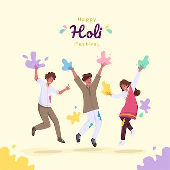Jugendliche feiern holi festival