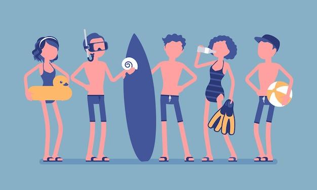 Jugendliche genießen sport- und wasseraktivitäten am strand. gruppe aktiver teenager in badebekleidung zum schwimmen, tauchen, wasserball oder surfen, wassersportclub. vektorillustration, gesichtslose charaktere