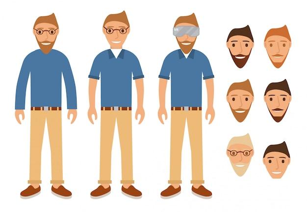 Jugendliche mit brille und virtual-reality-helm.