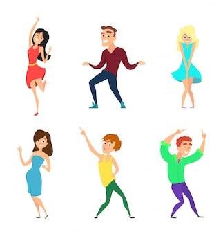 Jugendliche tanzen. aktive jungs und mädels in action-posen