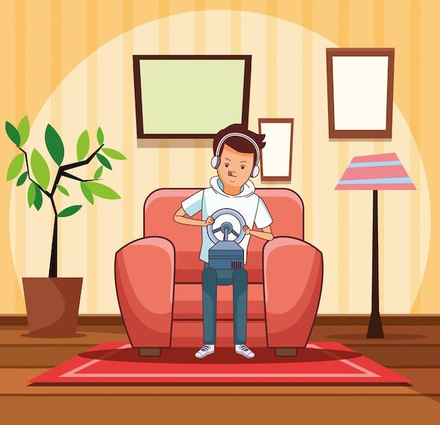 Jugendlicher mit videospielkarikatur