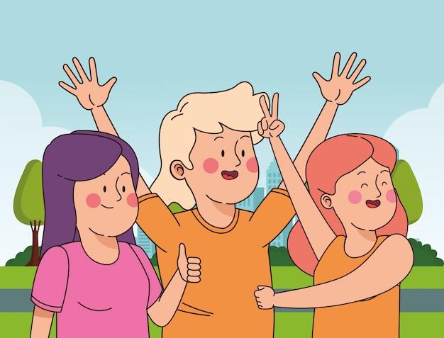 Jugendlichfreunde, die spaß lächeln und haben