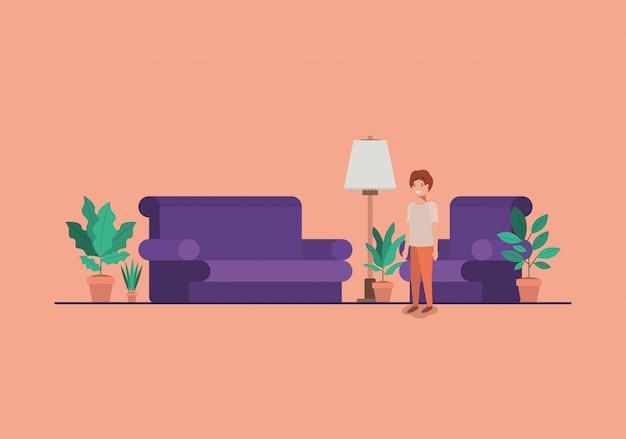 Jugendlichjunge im wohnzimmer