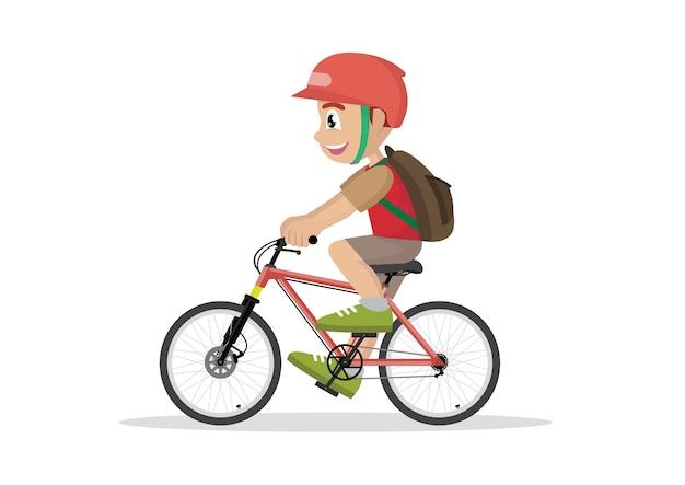 Jugendlichkinderschuljunge, der auf fahrrad radfährt