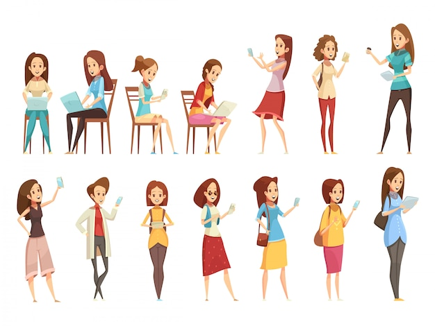 Jugendlichmädchencharaktere mit den retro- karikaturikonen 2 der telefontablette und des laptops stellten lokalisierte vektorillustration ein