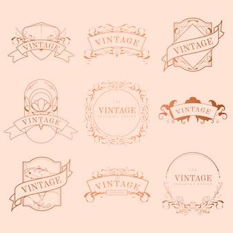 Jugendstil-ausweisvektorsatz der weinlese rosafarbenes gold