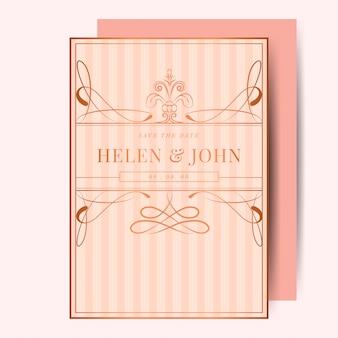 Jugendstil-hochzeitseinladungs-modellvektor des rosafarbenen goldes der weinlese