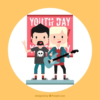 Jugendtag hintergrund mit rocker