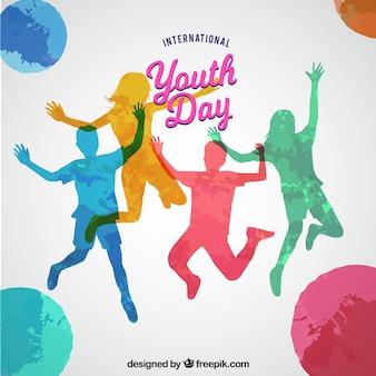 Jugendtag hintergrund mit silhouetten von farben