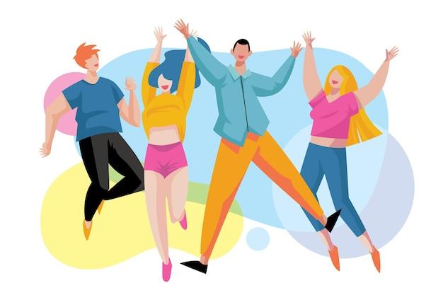 Jugendtag menschen springen