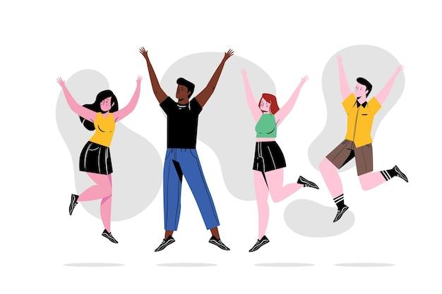 Jugendtag mit handgezeichneten springenden menschen