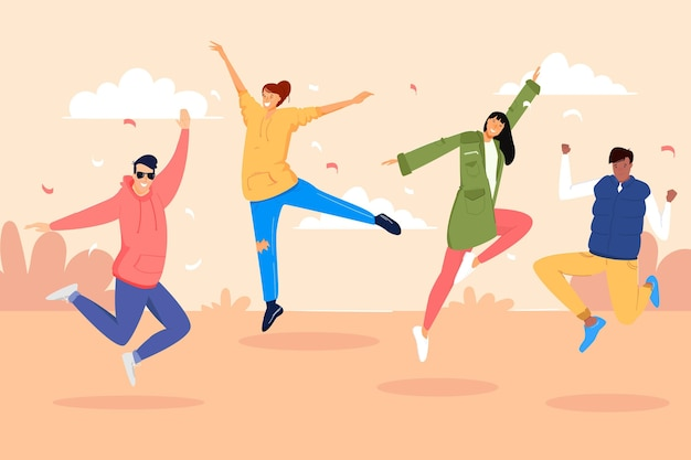 Jugendtag mit springenden menschen