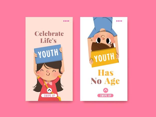 Jugendtag-schablonendesign für internationalen jugendtag, soziale medien, aquarell