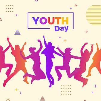 Jugendtag - springende menschen silhouetten