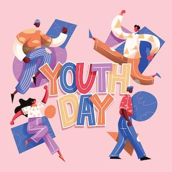 Jugendtag typografie mit jugendgruppe