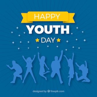 Jugendtaghintergrund mit blauen schattenbildern
