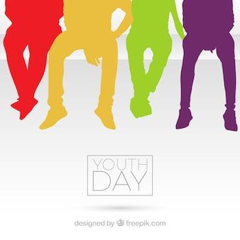 Jugendtaghintergrund mit bunten schattenbildern